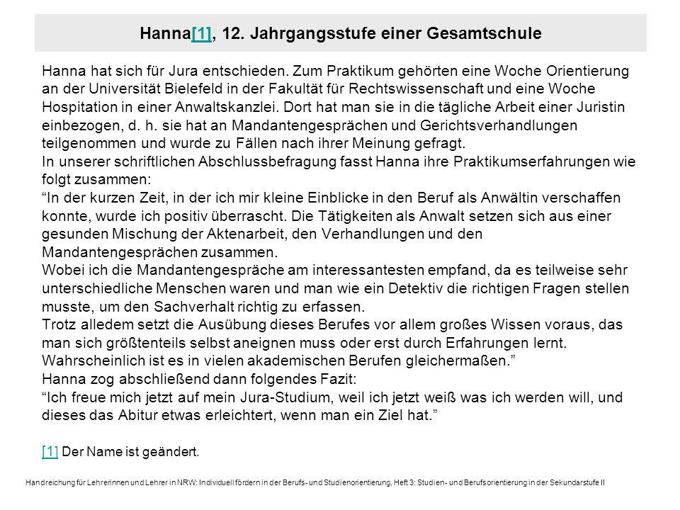 Hanna[1], 12. Jahrgangsstufe einer Gesamtschule